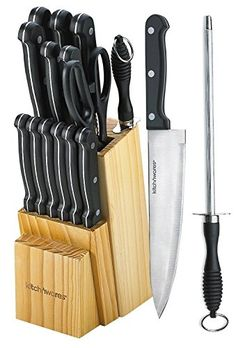Metee Kitchen Knife Set 15 Piece Block Stainless Steel Chef Cutlery Steak Knives New -- Check this awesome image @