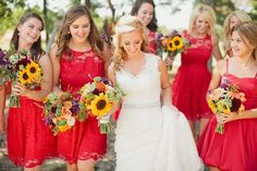 The red bridesmaid dresses couldn't be more beautifully paired with the summer s. The red bridesmaid dresses couldn't be more beautifully paired with the summer sunflower bouquets Red Bridesmaid Dresses, 2015 Wedding Dresses, Bridesmaids And Groomsmen, Wedding Attire, Pastel Bridesmaids, Summer Wedding Colors, Red Wedding, Spring Wedding, Wedding Day
