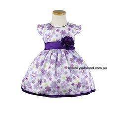 Cotton Floral dress in Purple QSDS630