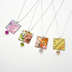 Vintage Style Necklaces made from reclaimed tins.