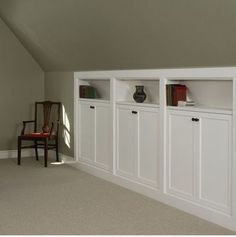 This would have been good for your house. :) Kneewall storage built-ins - great for over garage bonus room. Love these for an attic conversion or loft. Attic Bedrooms, Upstairs Bedroom, Closet Bedroom, Attic Bathroom, Attic Closet, Master Bedrooms, Bathroom Plumbing, Bedroom Curtains, Closet Doors