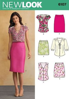 New Look 6107 Size A 8/10/12/14/16/18 Misses Tops and Skirts Sewing Pattern, Multi-Colour