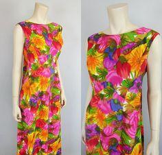 1f05362f5a669 Vintage 60s 70s Hawaiian Waterfall Dress Kiyomi Iolani 1960s 1970s Mad Men  Empire Caftan Maxi Dress Hawaii Wedding Luau size XS