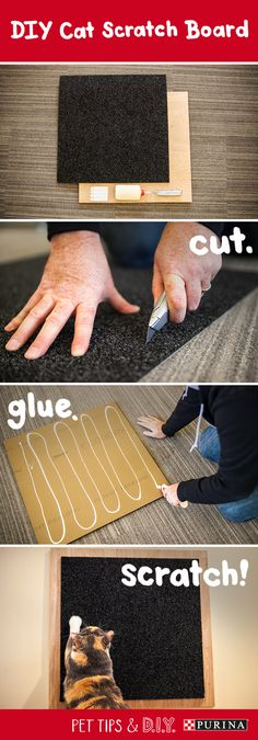Make a DIY scratch board for your cat in minutes with just a few materials! #PetLifeHack