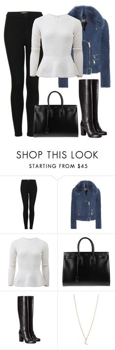 """""""Sans titre #1120"""" by nicolaisbae ❤ liked on Polyvore featuring Topshop, Burberry, Oscar de la Renta, Yves Saint Laurent, Prada and Minor Obsessions"""