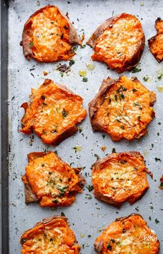 These garlic butter smashed sweet potatoes with Parmesan from Cafe Delites have been saved 335,000 times on Pinterest.