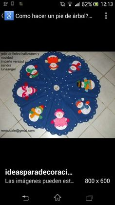 Pie de arbol Christmas Crafts, Christmas Tree, Applique Templates, Dena, Wool Applique, Felt Ornaments, Beach Mat, Snowman, Outdoor Blanket