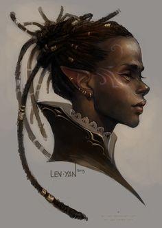 needlesslycryptic: golden eyed elf by len-yan