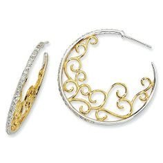 Sterling Silver and Gold-plated Scrolled CZ Hoop Earrings - JewelryWeb JewelryWeb. $140.70. Save 50% Off!