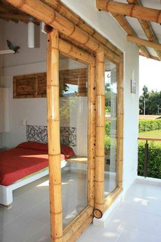 Pergola Attached To House Bamboo Roof, Bamboo Wall, Bamboo Fence, Pergola With Roof, Diy Pergola, Bamboo House Design, Bamboo Building, Bamboo Structure, Bamboo Construction