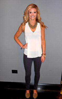 White Sheer Top- $35  Purple Rich and Skinny Jeans- $121  Necklace- $35  Studded Flats- $30    https://www.facebook.com/photo.php?fbid=422194107848652=a.422193357848727.96945.147603131974419=3