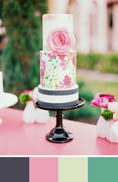 Charcoal grey stripes take this pretty pink cake to classic and chic. Found on green wedding shoes #weddingcake #grey #pink
