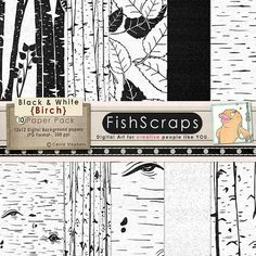 Wood Digital Paper - Faux Bois - Black and White Patterns - Birch Tree - Nature, Wedding - Digital Background - Instant Download
