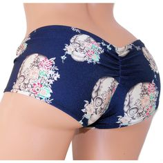 Skulls and Japanese Flowers Blue Scrunch Butt Lo Rise Booty Shorts... ($18) ❤ liked on Polyvore featuring grey, lingerie, panties and women's clothing