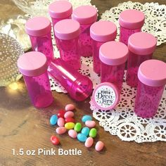 DecoJars.com  We Love our Custom Pink Jars!!! 12 PINK Pill Bottles Princess Party Event Jar #3814 Container 1.5oz USA DecoJars #Decojars