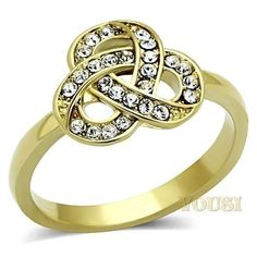 Womens IP Gold Clear Crystal Ring RI0T-06996