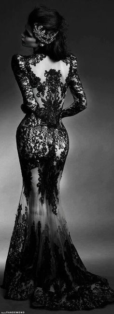 Classy and sexy black, floral, lace dress. Long see through gown. Curvaceous.