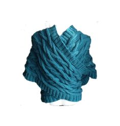 Sea green warm cabled big scarf shrug capelet by MyLaceSpace, $145.00