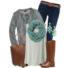 Casual Outfit: dark skinny jeans, lace cream tank, gray cardigan, turquoise scarf accessories, brown boots