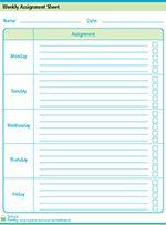 Weekly Assignment Sheet - M-Fr