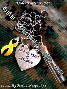 """Deployment Necklace- Charm Necklace with Fancy Yellow Support Ribbon,Half My Heart is Deployed & Long Neck """"Carrying His love with me"""" Bottle ..Retail: $8.50 plus shipping..Item made by me..Follow me on Facebook: www.facebook.com/myheroskeepsakes ,Or to order visit: www.myheroskeepsakes.com"""