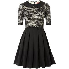 Chi Chi London Collared Lace 3/4 Sleeve Skater Dress ($36) ❤ liked on Polyvore featuring dresses, short dresses, black, women, day to night dresses, three quarter sleeve dress, collared skater dress, collar dress and lace overlay dress