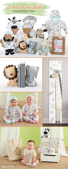 Zebras, lions, monkeys, elephants…there are a wealth of cuddly and inspiring animals found in a safari. That's why the safari is such a fun theme for a baby shower or nursery. Baby Boy Gifts, Baby Shower Gifts, Baby Aspen, Safari Nursery, Shower Inspiration, Zebras, Monkeys, Elephants, Lions