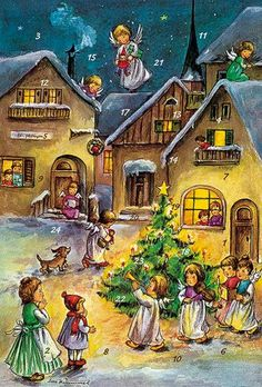Angel Band Visits the Village - Vintage Advent Calendar - Made in Germany
