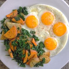 Pastured local eggs with a side mixture of taters and kale & herbs from the garden.  Total cost around $2.50. see my full write up on Instagram (linked below).