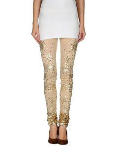 Gold embellished leggings by PINK BLACK