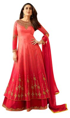 Need something for the big fat Indian wedding? This sophisticated Anarkali suit is full of nice embroidery and is very very graceful. Shop it now!