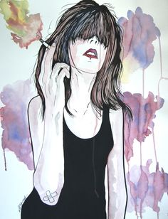 Marya   Watercolor, charcoal, acrylic on paper 50×65 cm Natasha vkikx@yahoo.com  http://natasha-art-illustrations.com