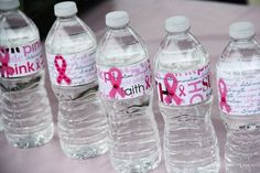 Pink-bottles! Breast Cancer Paper & Stickers to decorate water bottles! Perfect for the next 5k.