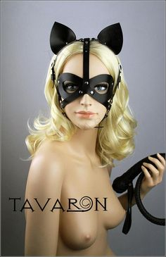 Leather cat mask Catwoman Mask Leather Party Mask