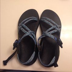 ZX/1 Classic Chacos size 8 Double strap Chacos without toe strap.  Blue wave pattern. Worn only 1 summer. Chacos Shoes Sandals