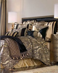 Dian Austin Couture Home Dijon Bed Linens Damask Fabric, 3 yards x Luxury Bedding Collections, Luxury Bedding Sets, Black Bed Linen, Bed Linen Design, Bed Linen Sets, Black Bedding, Luxurious Bedrooms, Beautiful Bedrooms, Home Interior