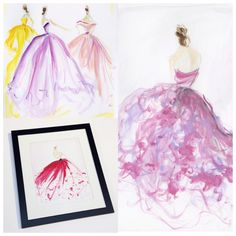 Sketches of the day: colorful tulle and organza gowns. Sketch prints and originals are available at our online store. www.christiansiriano.com. #cssketch