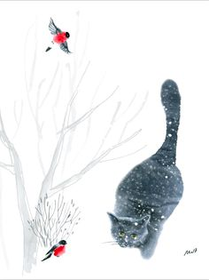 snow cat / catart for catlovers /British cat  / digital print  from watercolor artwork  / 2017  art by MariLova https://www.facebook.com/MariLova