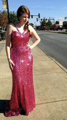 Pink Sequined Prom Dress on sale at The Bridal Cottage! #shimmer #longdress