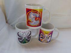 3 Kaffeebecher  mit verschiedenen Engel-Energiebilder