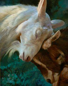 Tenderly - Boris Vallejo and Julie Bell Julie Bell, Goat Paintings, Animal Paintings, Bell Art, Texas, Boris Vallejo, Wild Dogs, Sculpture, Wildlife Art