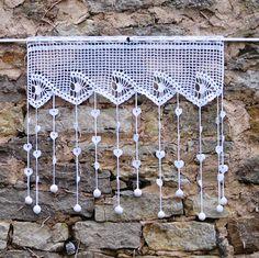 Rideau en dentelle de crochet brise bise blancmotif