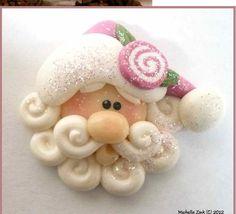 NEW Polymer Clay Bead or Bow Center Jellyroll Rose Santa Face, via Etsy. Crea Fimo, Fimo Clay, Polymer Clay Projects, Polymer Clay Creations, Polymer Clay Beads, Diy Xmas, Christmas Crafts, Polymer Clay Ornaments, Dough Ornaments