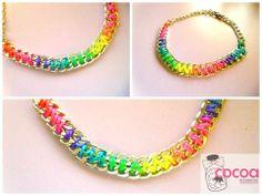 Collar multicolor flúor con cadena