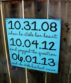 "12"" x 12"" Most Important Dates Sign - Wedding / Anniversary / Engagement"
