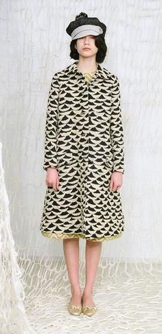 Mina Perhonen ripples coat cascade dress & shinoyama hat.