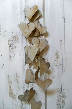 Rustic wedding garland large metal hearts by AnitaSperoDesign