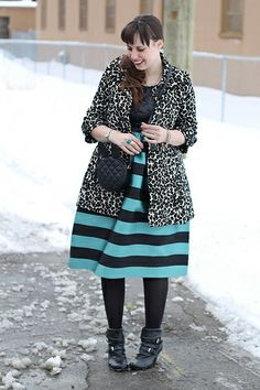 """Sparkle and stripes outfit: Anthropologie """"Starlit Stripes Dress"""", leopard brocade coat, black pirate booties, Asos """"ASOS Quilt Cross Body B..."""