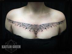 https://www.kaitlingreentattoo.com  Mehndi ornamental henna tattoo, chest tattoo for women, linework, dotwork, delicate- female tattoo artist in Denver, Colorado.