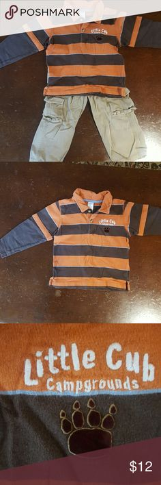 Gymboree long sleeved polo and cargo pants 3T Gymboree orange, brown and light blue striped long sleeved polo shirt with embroidered bear paw with 'Little Cube Campgrounds.'  Tan cargo pants with adjustable waist.  No visible stains and one small hole (see last pic). Gymboree Matching Sets